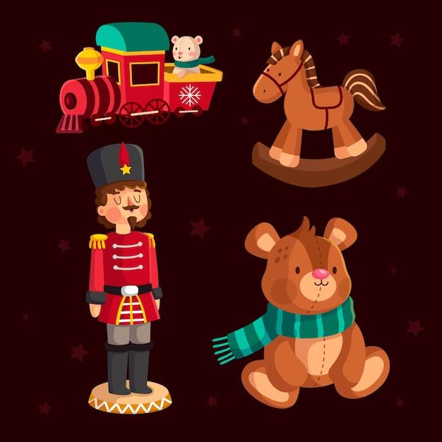 Weihnachtsspielzeugsammlung im flachen design Kostenlosen Vektoren