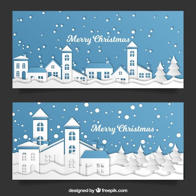 Weihnachtsstadt ausgeschnitten Banner Kostenlose Vektoren