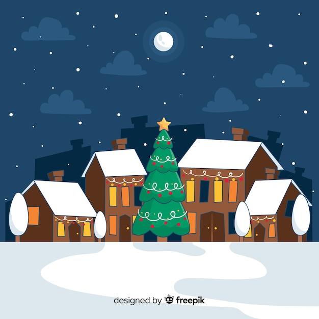 Weihnachtsstadt hand gezeichnete stil Kostenlosen Vektoren
