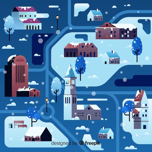 Weihnachtsstadt im flachen design Kostenlosen Vektoren