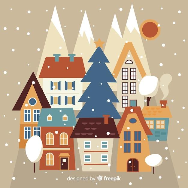 Weihnachtsstadt in flacher art Kostenlosen Vektoren