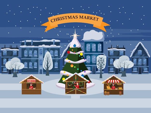 Weihnachtsstadt mit andenkenmarkt klemmt mit dekorationsandenken fest Premium Vektoren