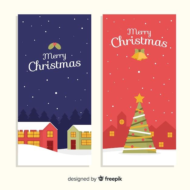 Weihnachtsstadtfahnen im flachen design Kostenlosen Vektoren
