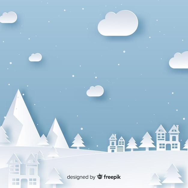 Weihnachtsstadthintergrund papercut-effekt Kostenlosen Vektoren