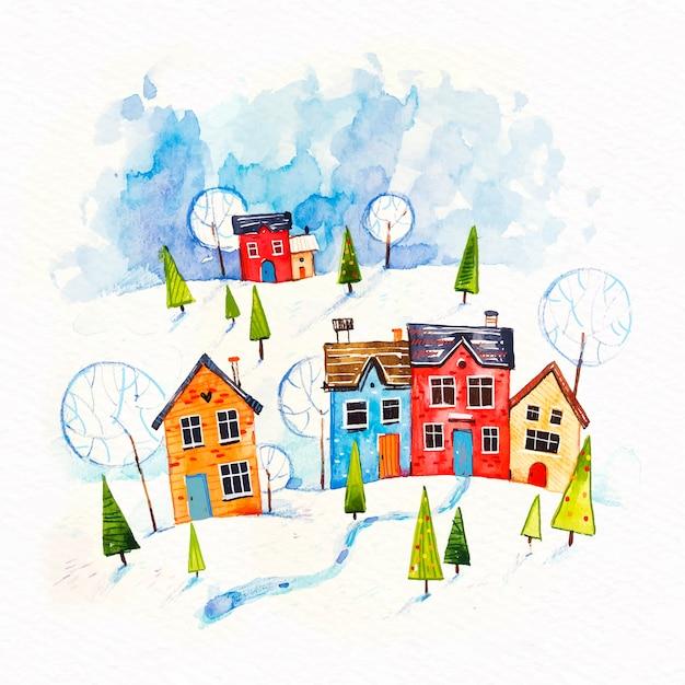 Weihnachtsstadtkonzept im aquarell Kostenlosen Vektoren