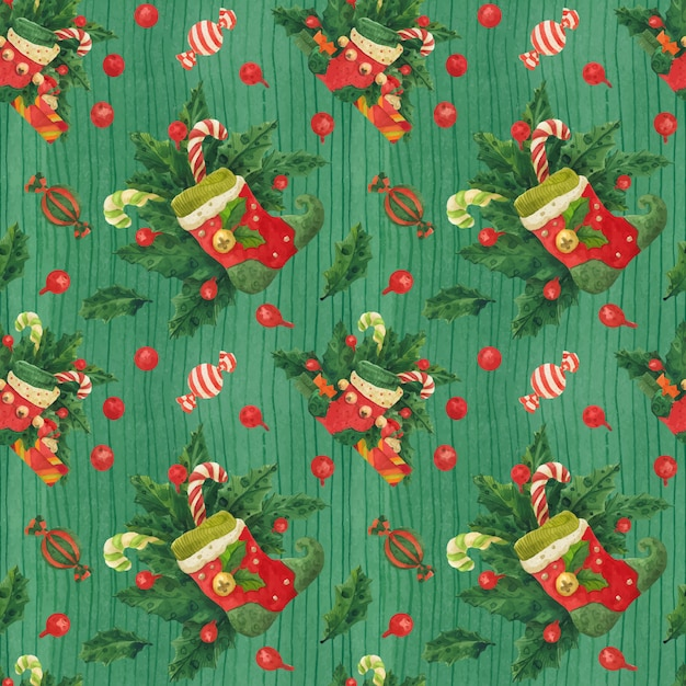Weihnachtsstechpalmen-grünmuster mit elfenstrümpfen und zuckerstangen, verfolgtes aquarell Premium Vektoren