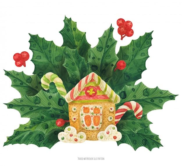 Weihnachtsstechpalmenblumenstrauß mit lebkuchenhaus Premium Vektoren