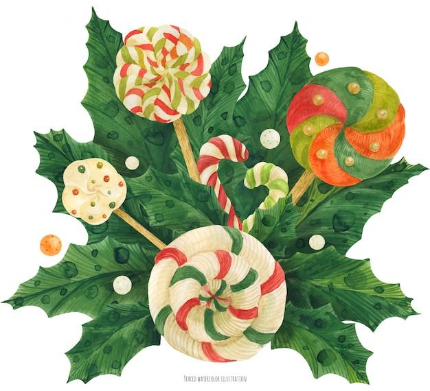 Weihnachtsstechpalmenblumenstrauß mit lutscher und zuckerstange Premium Vektoren