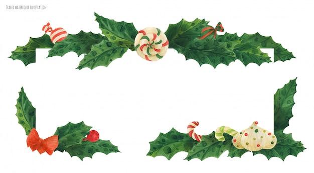 Weihnachtsstechpalmengrenze mit zuckerstange und lutscher und zefir, verfolgtes aquarell Premium Vektoren