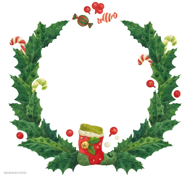 Weihnachtsstechpalmenkranz mit strumpf und zuckerstangen, aquarellillustration Premium Vektoren