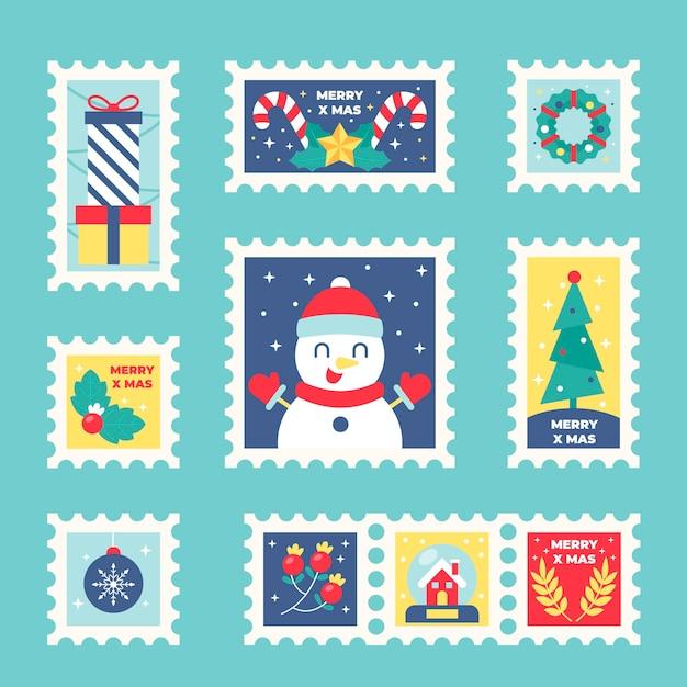 Weihnachtsstempelsammlung im flachen design Kostenlosen Vektoren