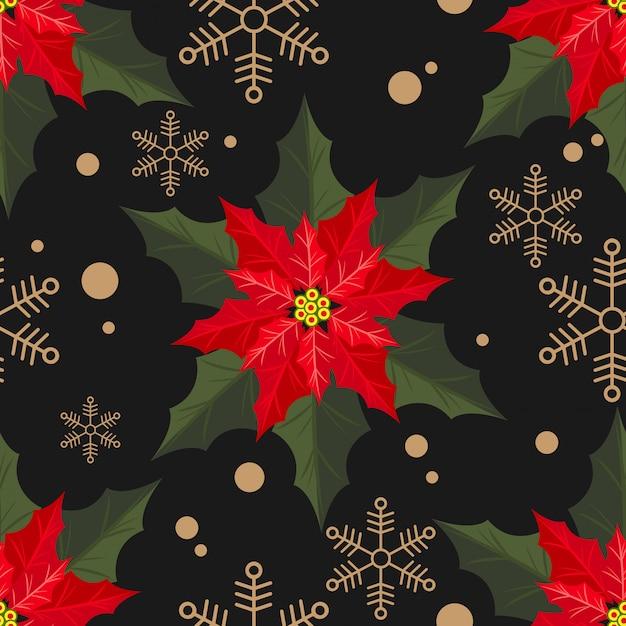 Weihnachtsstern weihnachten blüht nahtloses muster. Premium Vektoren
