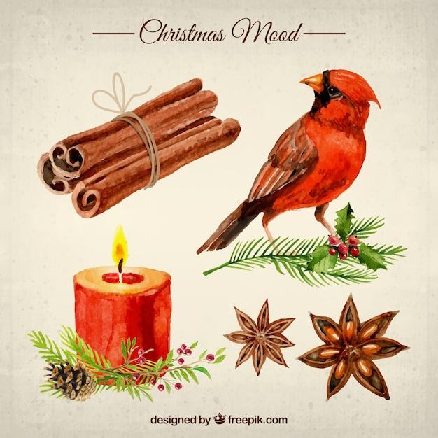 Weihnachtsstimmung in aquarell-stil Kostenlosen Vektoren