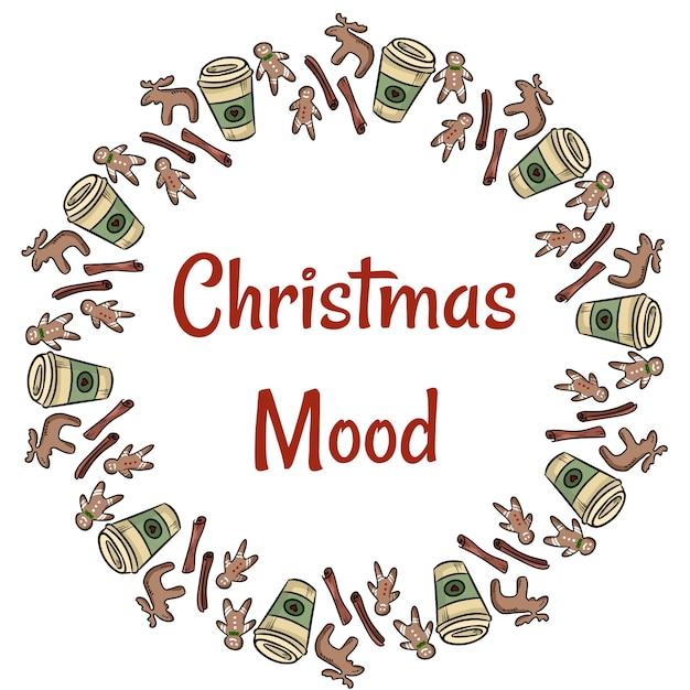 Weihnachtsstimmung plätzchen und kaffeekranz Premium Vektoren