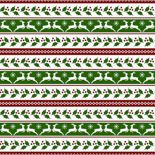 Weihnachtsstreifenmuster mit rotwild und stechpalme Premium Vektoren