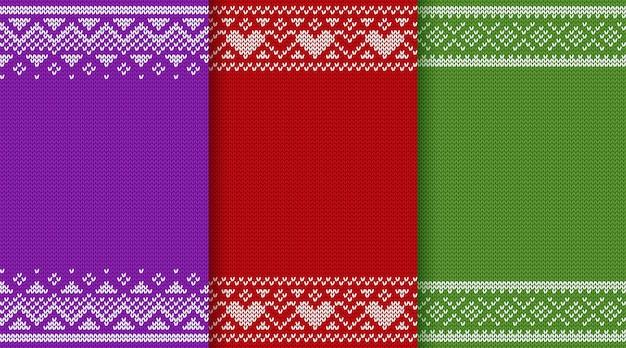 Weihnachtsstrickender beschaffenheits-mustersatz Premium Vektoren