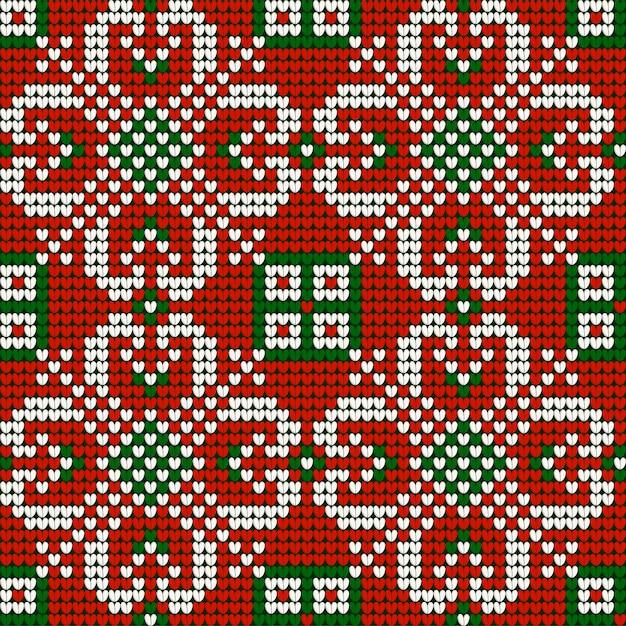 Weihnachtsstrickmuster der großmutter in den roten, grünen und weißen farben Premium Vektoren