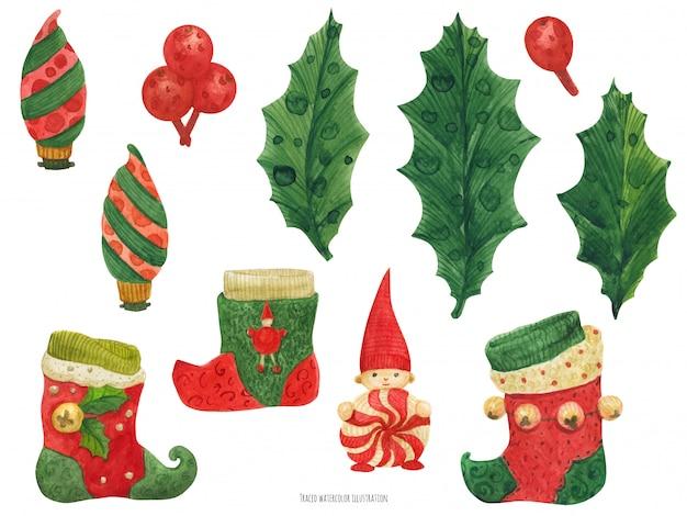Weihnachtsstrümpfe und holly, aquarell Premium Vektoren