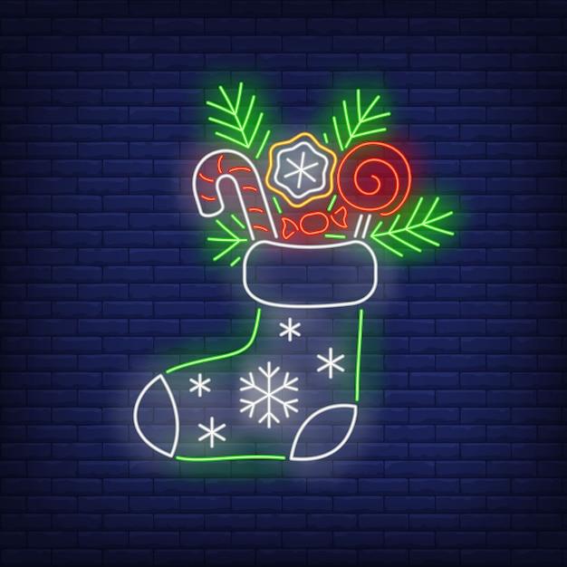 Weihnachtsstrumpf im neonstil Kostenlosen Vektoren