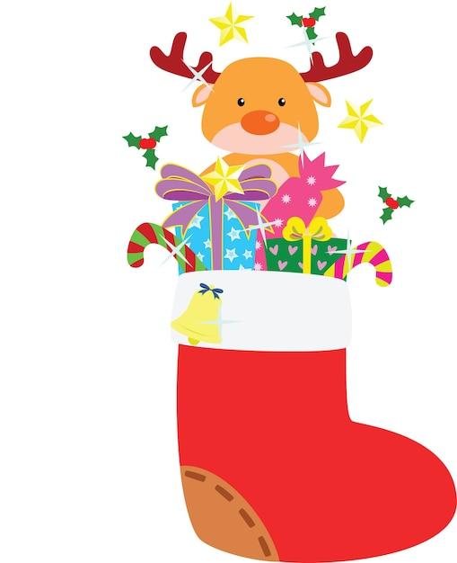 Weihnachtsstrumpf voller Geschenke | Download der Premium Vektor