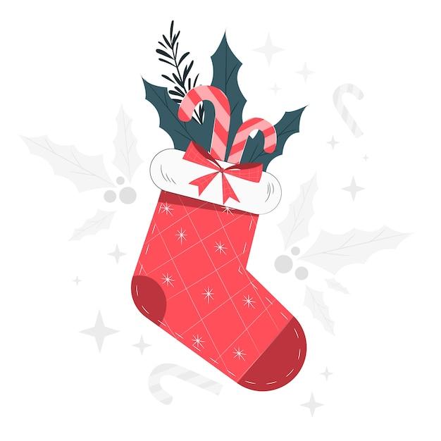Weihnachtsstrumpfkonzeptillustration Kostenlosen Vektoren