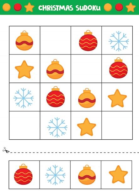 Weihnachtssudoku für kinder. lernspiel für kinder. Premium Vektoren