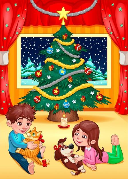 Weihnachtsszene mit Kindern und Haustieren Cartoon Vektor ...