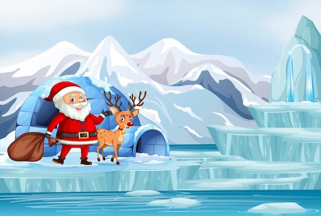 Weihnachtsszene mit weihnachtsmann und rentier Kostenlosen Vektoren