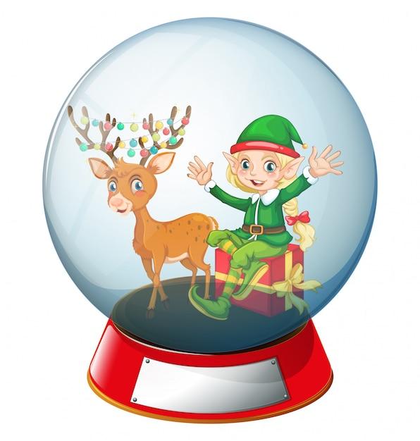 Weihnachtsthema mit elfe und ren in der glaskugel Kostenlosen Vektoren
