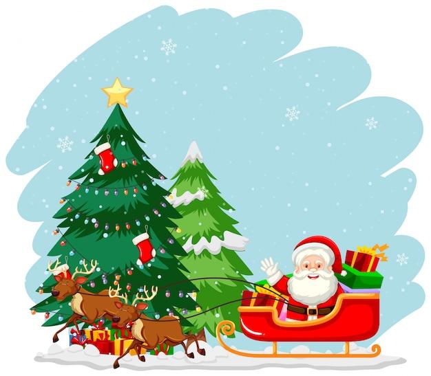 Weihnachtsthema mit weihnachtsmann auf schlitten Kostenlosen Vektoren