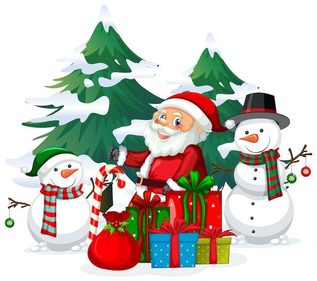 Weihnachtsthema mit weihnachtsmann und schneemann Kostenlosen Vektoren