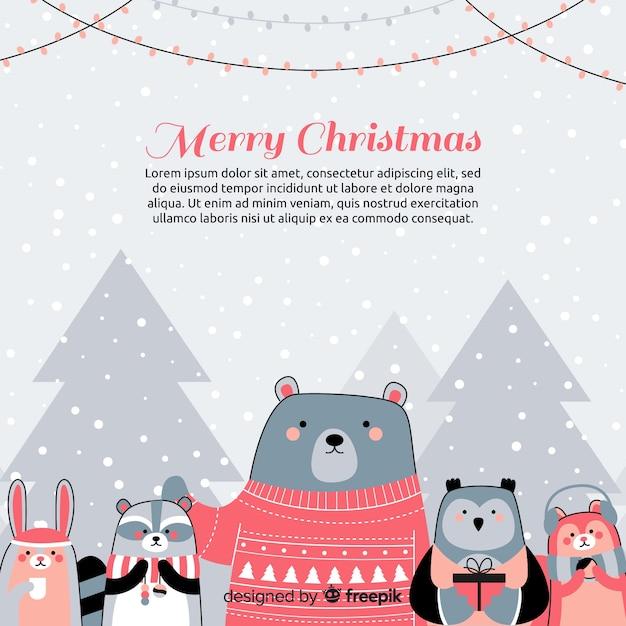 Weihnachtstiere hintergrund Kostenlosen Vektoren