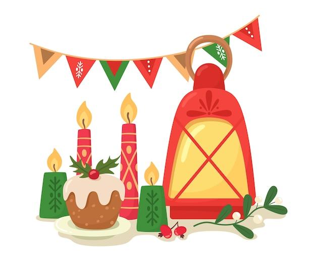 Weihnachtstisch mit kerzen, cupcake, girlande und einem zweig der mistel, cartoon flacher stil. Premium Vektoren