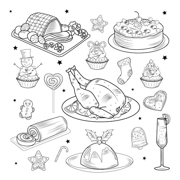 Weihnachtstraditionelles speisen- und getränkeset Premium Vektoren
