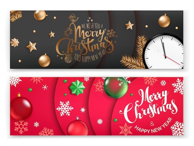 Weihnachtsvectical fahnenschablone, frohe weihnachten und guten rutsch ins neue jahr Premium Vektoren
