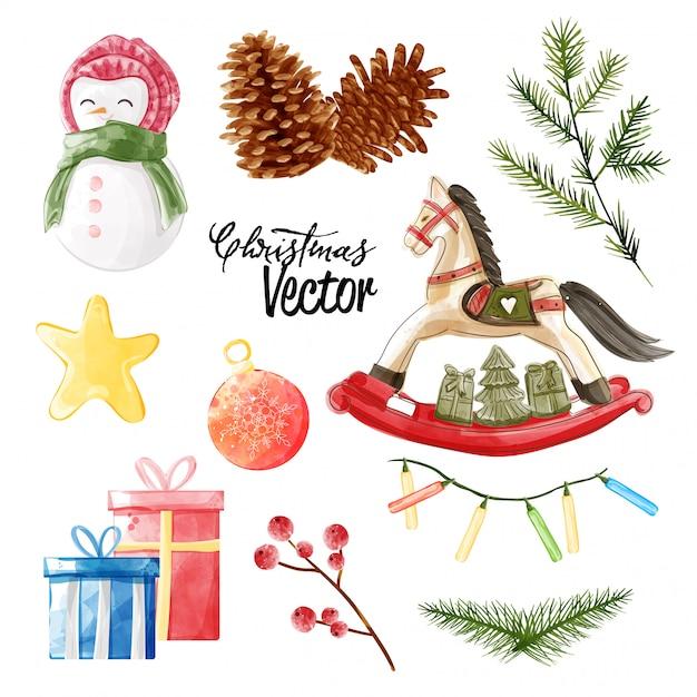 Weihnachtsvektor-elementsammlung in der schmerzenden art des aquarells. Premium Vektoren
