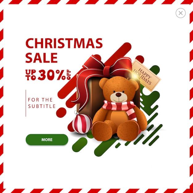 Weihnachtsverkauf banner, bis zu 30% rabatt, rot und grün rabatt pop-up mit abstrakten flüssigen formen und präsentieren mit teddybär Premium Vektoren