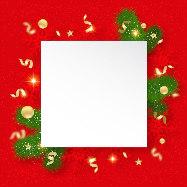 Weihnachtsverkauf banner. hintergrund mit glänzenden schneeflocken, brunchs und sternen Premium Vektoren