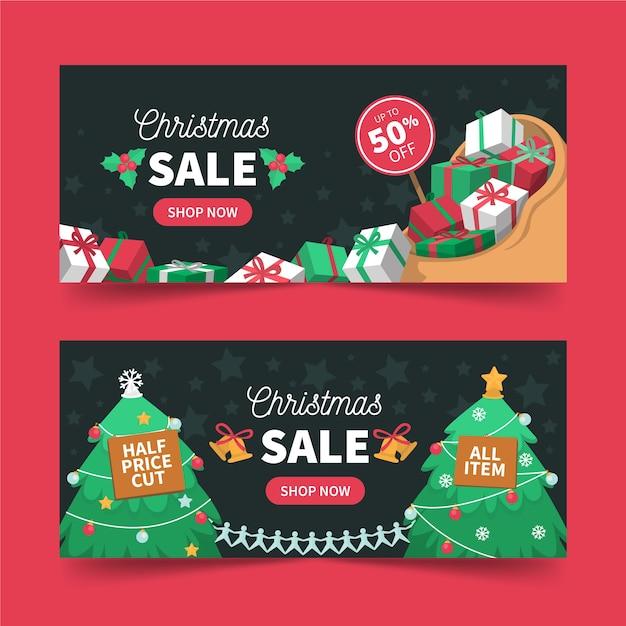 Weihnachtsverkauf banner mit geschenken und bäumen Kostenlosen Vektoren