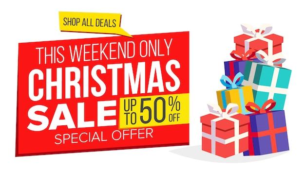Weihnachtsverkauf banner vorlage Premium Vektoren