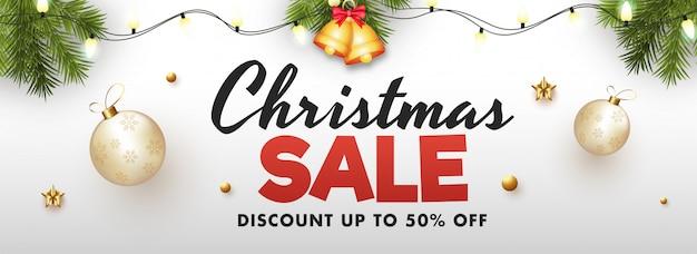 Weihnachtsverkauf banner. Premium Vektoren