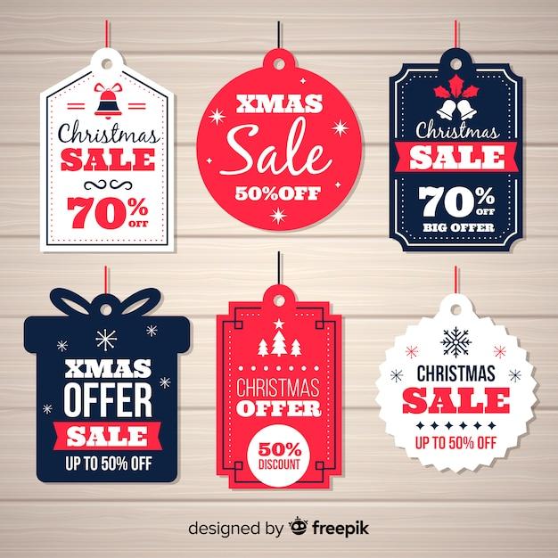 Weihnachtsverkauf beschriftet verschiedene formen Kostenlosen Vektoren