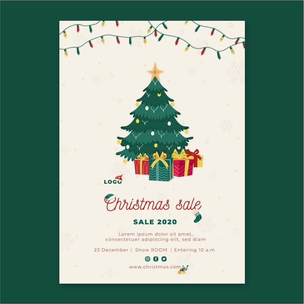 Weihnachtsverkauf flyer vertikal Premium Vektoren