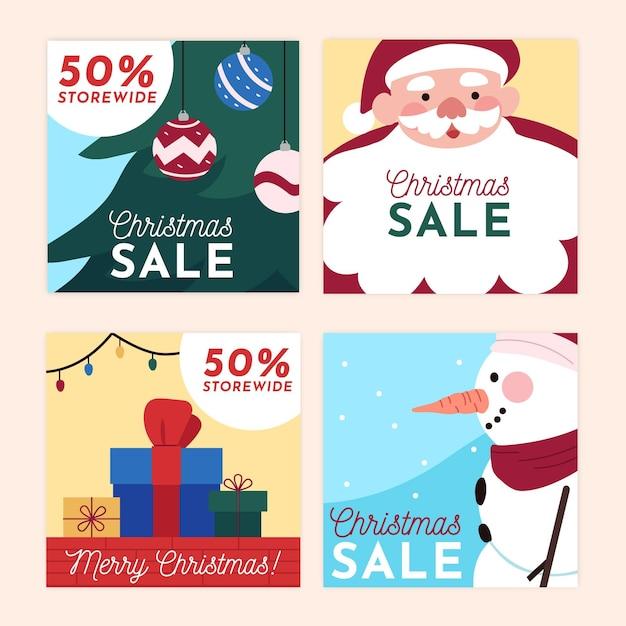 Weihnachtsverkauf instagram beiträge Kostenlosen Vektoren