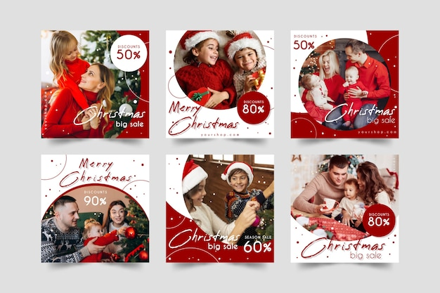 Weihnachtsverkauf instagram beitragssammlung Kostenlosen Vektoren