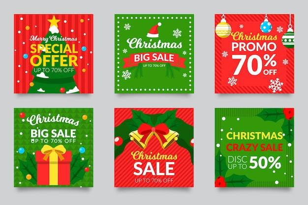 Weihnachtsverkauf instagram beitragssatz Kostenlosen Vektoren