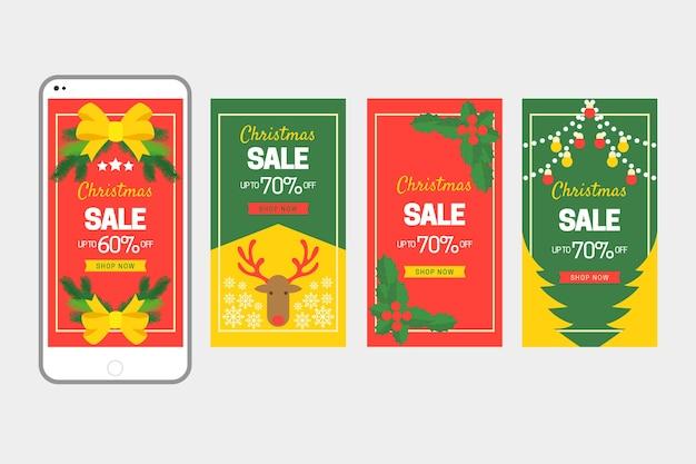 Weihnachtsverkauf instagram geschichtenansammlung Kostenlosen Vektoren
