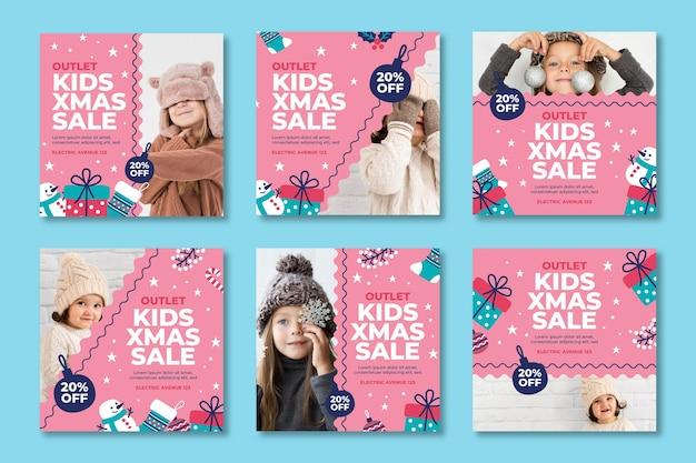 Weihnachtsverkauf instagram post sammlung Kostenlosen Vektoren