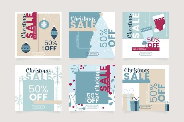 Weihnachtsverkauf instagram post vorlage Premium Vektoren