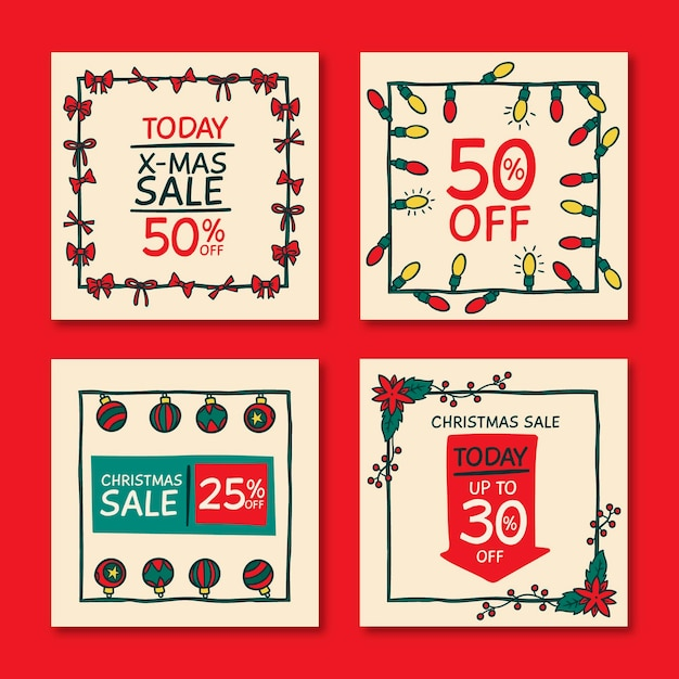 Weihnachtsverkauf instagram post vorlage Kostenlosen Vektoren